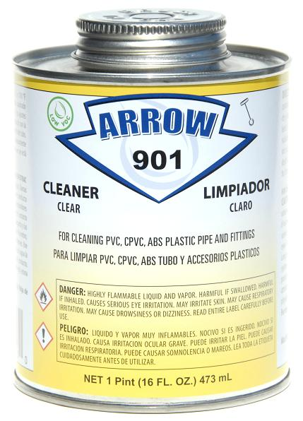 901 is a Low-VOC fast acting solvent cleaner that cleans all classes and schedules of PVC CPVC and ABS pipe and fittings.  sc 1 st  Arrow Adhesives & 901Arrow Adhesives